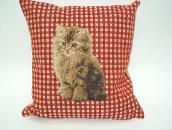 Kussen Brown Cat Gobelin small