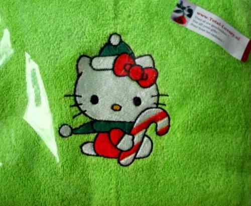 Hello Kitty badlaken Kerstmis lime