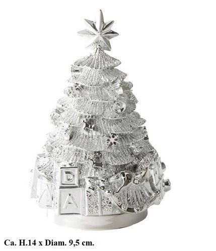 Muziekornament muziekdoos kerstboom verzilverd