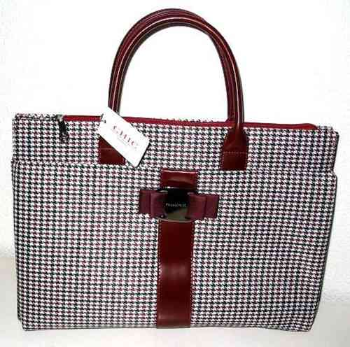 b45e34964bc Tas Chic London aktetas pied de poule bordeaux