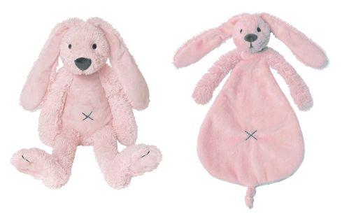 Happy Horse Konijn Richie knuffel en tutteldoekje set/2 roze