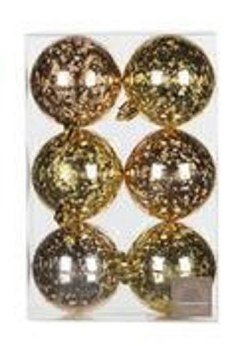 Kerstbal goud en champagne Set/6