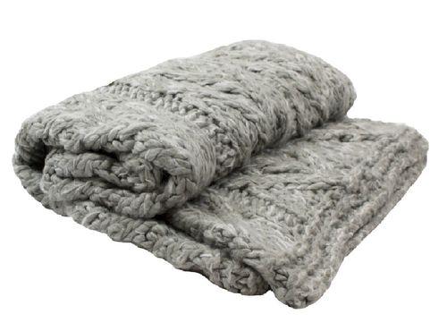 Kleed gebreide deken lichtgrijs