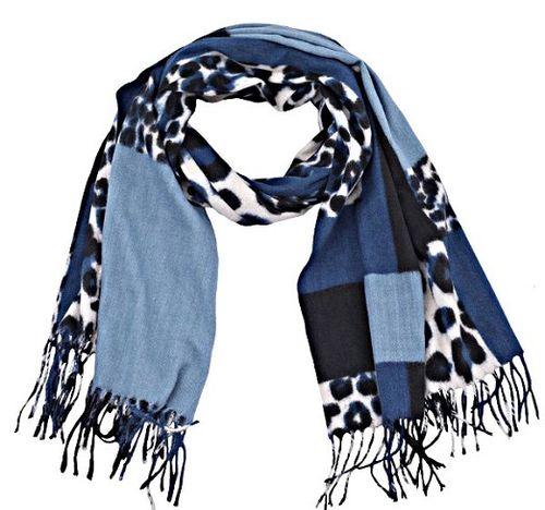 Sjaal Leopard blauw