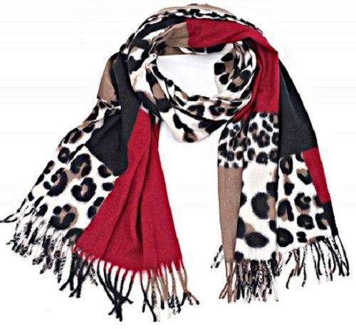 Sjaal Leopard donkerrood