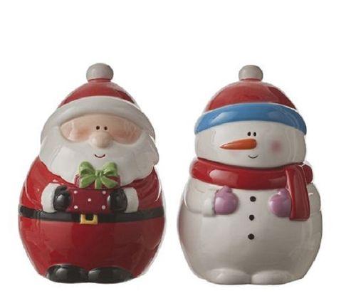Voorraadpot Kerstman en Sneeuwpop  set/2 medium