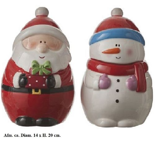 Voorraadpot Kerstman en Sneeuwpop set/2 large
