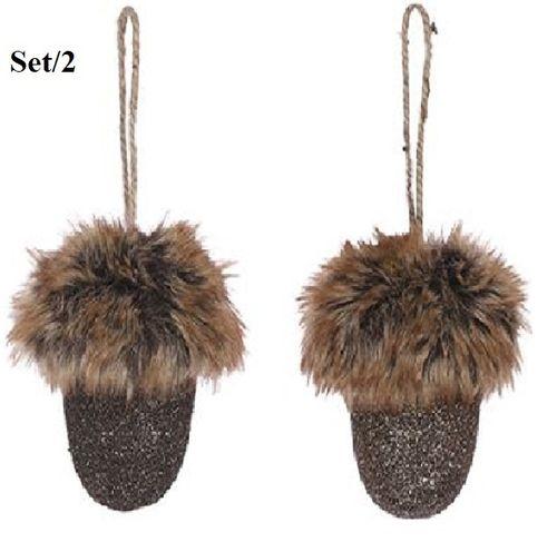Kerstbal Eikel Set/2; kersthangers met faux-fur