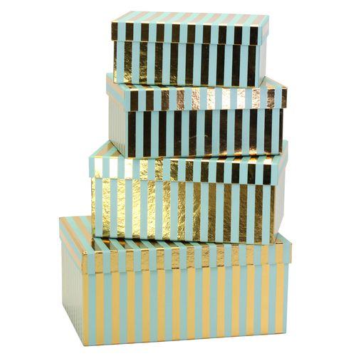 Kerstdozen set/4 streep goud turquoise
