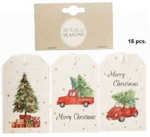 Kerstkaartjes Auto 2 sets labels met lintje