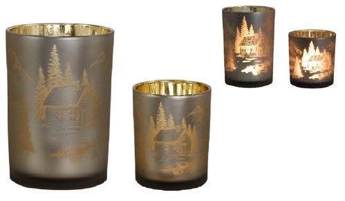 Windlicht Set/2 Gold waxinelichthouders Chalet